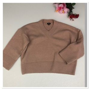 Lucca cropped knit sweater blush pink wide sleeve